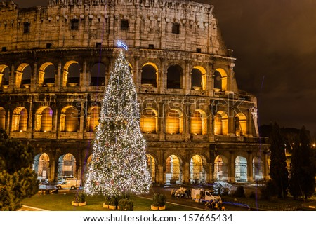 The Iconic, the legendary Coliseum of Rome, Italy on christmas - stock photo