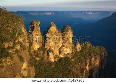 The iconic Three Sisters, Blue Mountains National Park, near Katoomba, NSW, Australia - stock photo