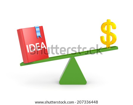 The idea is more important than money - stock photo