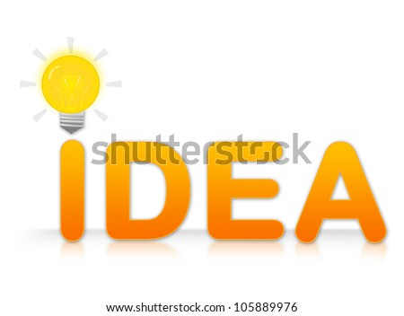 The Idea Text With Light Bulb Sign on I Letter Isolated on White Background