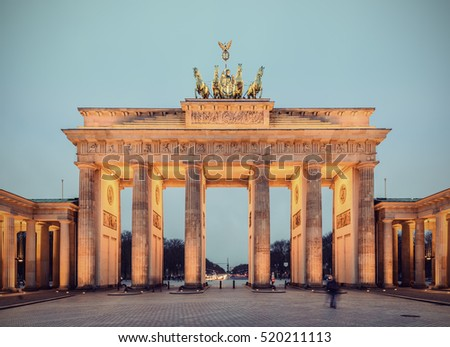 vintage berlin the illuminated brandenburg gate brandenburger tor at evening germany europe map