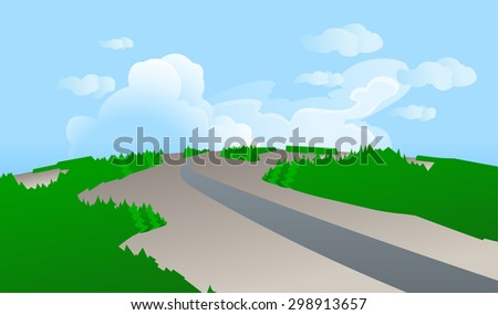 The illustration of a road from a bird's-eye view,aiming for a horizon in forest landscapes, with the blue sky and clouds in the background.Empty space leaves room for design elements or text.Panorama