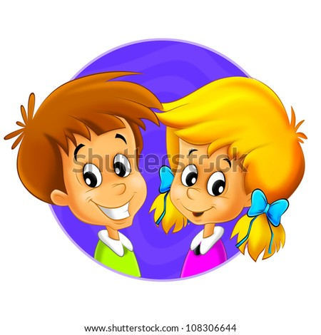 The illustration of the kids - smiling faces - in icon form - in circle - ellipse - drawing for children - decor good for ad or wrapping - banner 1 - stock photo