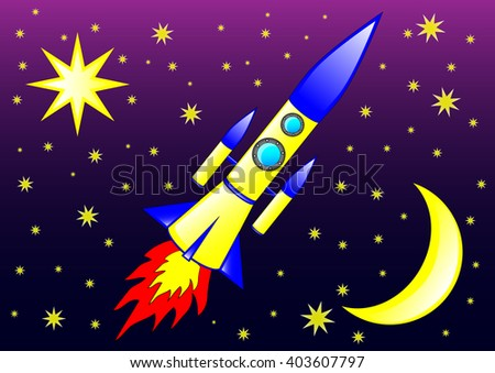 The illustration of the modern rocket flying in the space between  the stars.