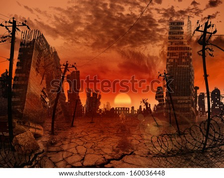 The illustration on the theme of the apocalypse - stock photo