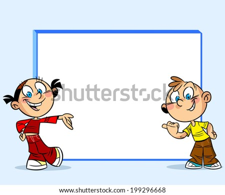 The illustration shows a boy and a girl, standing near a white board. They point a finger on the board. Illustration done in cartoon style, on separate layers, on a blue background. - stock photo