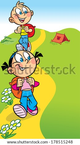 The illustration shows a boy and a girl tourists. They go on the hike. Behind them backpacks. Illustration done in cartoon style. - stock photo