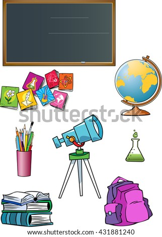 The illustration shows a group of school subjects and attributes of the classroom. Illustration done isolated on white background. - stock photo
