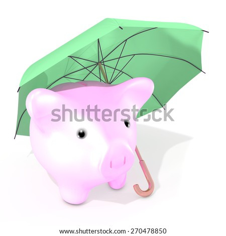 The illustration shows an umbrella protecting a little piggy bank against possible troubles linked to the market price fall. - stock photo