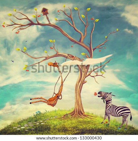 The illustration shows romantic relations between a giraffe and a zebra - stock photo
