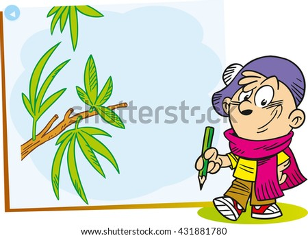 The illustration shows the cartoon young artist who paints on canvas green tree branch - stock photo