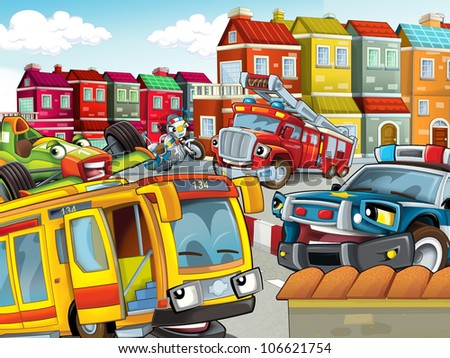 The illustration with many vehicles - for kids - horizontal - stock photo