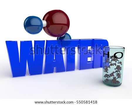 the image is glass Cup with water molecules, H2O, blue, transparent text water, with a large molecule, on a white background. 3D rendering