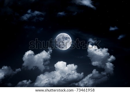 The image of a bright full moon in the starry sky