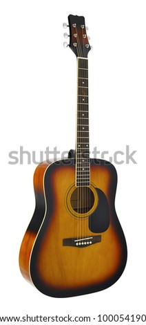 The image of a guitar under the white background (isolated with path)
