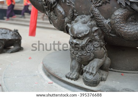 The image of a lion often appears in legends - stock photo