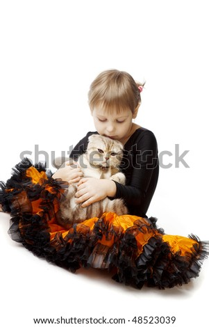 The image of a little girl with a cat on a white background - stock photo
