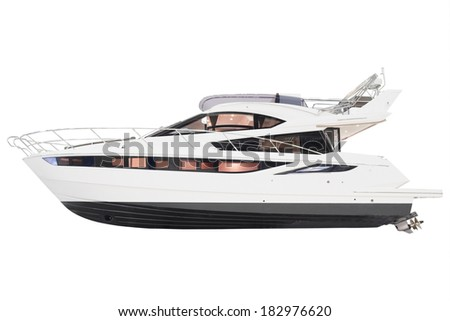the image of a motor boat under the white background