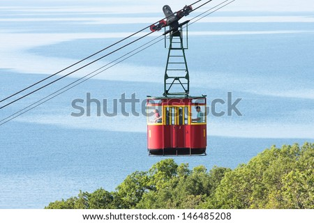 The image of a mountain cable car - stock photo