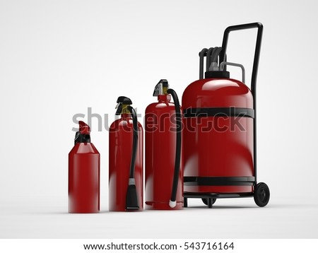 the image of a number of fire extinguishers of different models, large and small, hand-held fire-fighting equipment for extinguishing fires, white background, 3D rendering