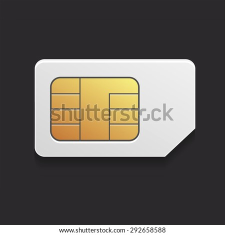 the  image of a realistic sim card with the chip for cellular mobile communication