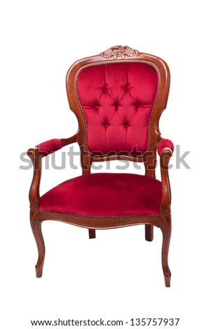 The image of a red ancient armchair on a white background