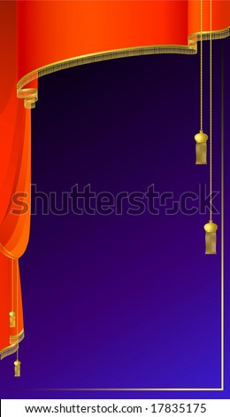 The image of a stage with velvet curtains