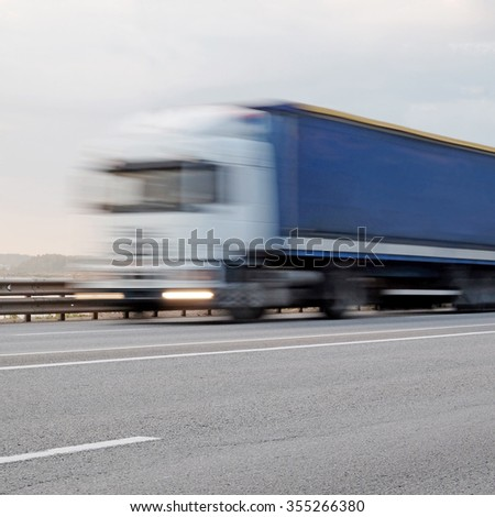the image of a  truck in movement - stock photo