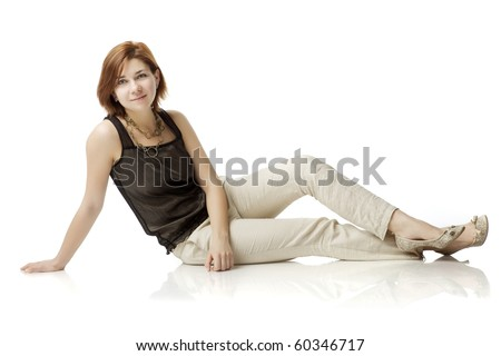 The image of a young woman on a white background - stock photo