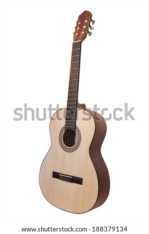 The image of acoustic guitar under the white background