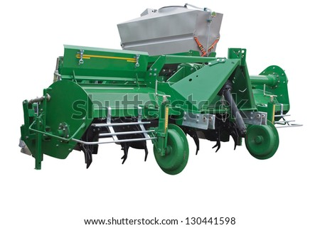 The image of agricultural equipment under the white background - stock photo