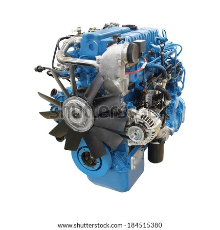 The image of an engine isolated under the white background - stock photo