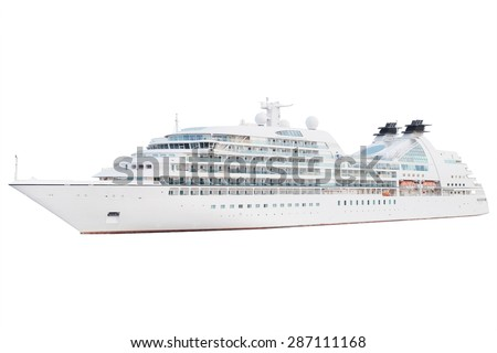 The image of an isolated cruise ship - stock photo