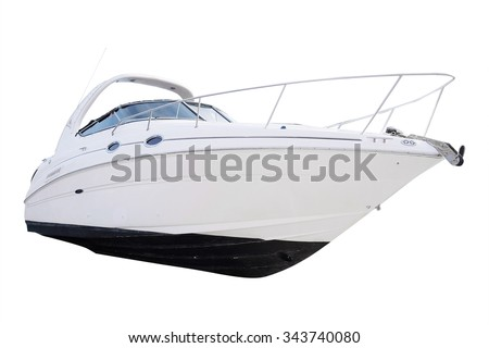 The image of an passenger motor boat in a hubborn of Tivat, Montenegro - stock photo