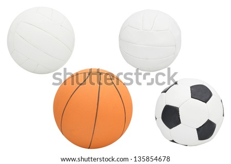 The image of balls  isolated under the white background