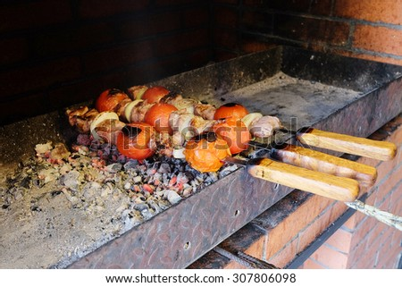 The image of beef kababs on the grill  - stock photo