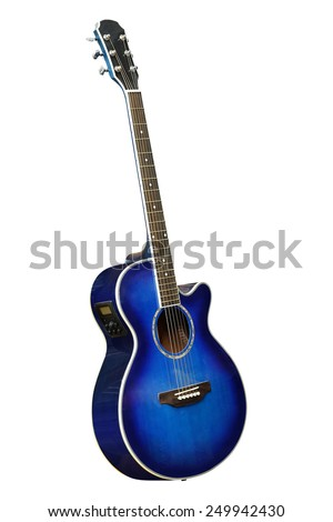 The image of blue acoustic guitar isolated under the white background - stock photo