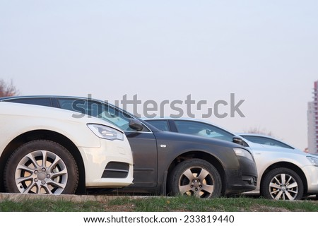 The image of cars on a parking