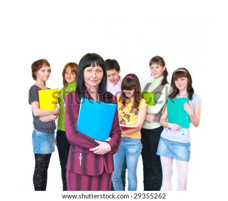 The image of casual teacher and her students over white - stock photo