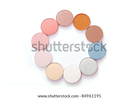 The image of colorful bright eye shadow - stock photo