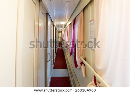 The image of corridor in the compartment car - stock photo