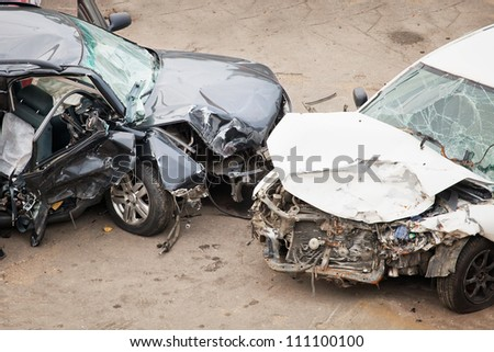 The image of crashed cars - stock photo