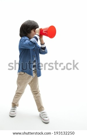 the image of cute Asian kid with loudspeaker