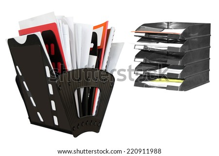 The image of documents in a paper rest - stock photo