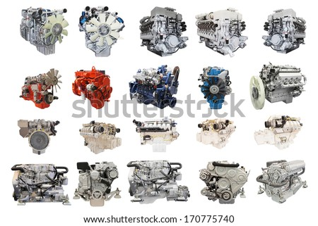 The image of engines under the white background - stock photo