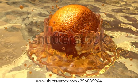 The image of falling of an orange in juice - stock photo