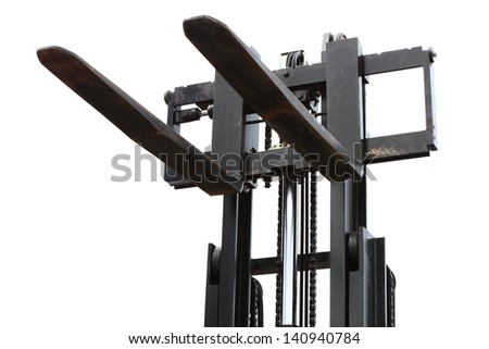 The image of forklift stacker loader detail - stock photo