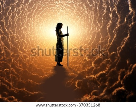 The image of Jesus in the clouds. - stock photo