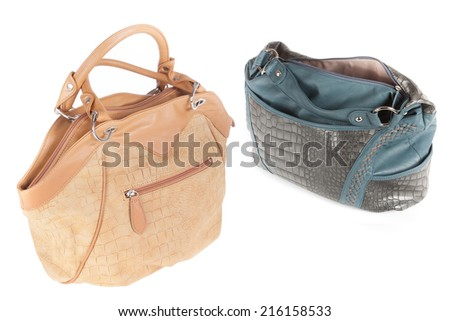 The image of lady's bag under the white background