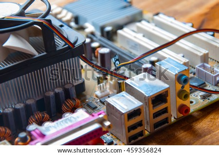 The image of motherboard